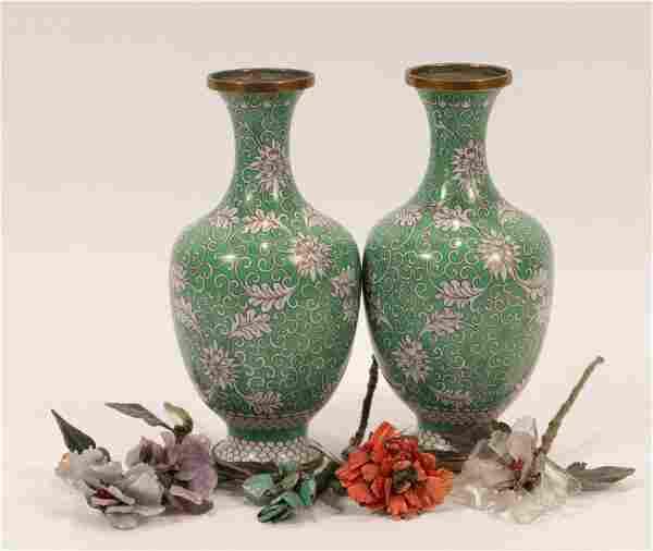 CHINESE CLOISONNE VASES & HARD STONE FLOWERS, 7 PCS, H