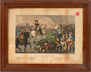 "CURRIER AND IVES,  LITHOGRAPH H 9.5"" W 12.2"" BATTLE 0F"