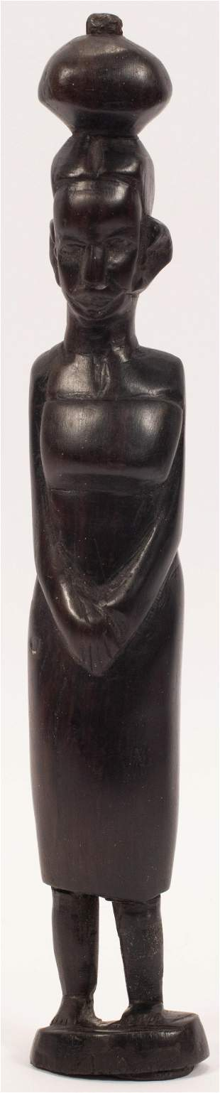 AFRICAN TRIBAL ART CARVED HARDWOOD FIGURE CARRYING
