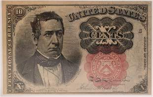FRACTIONAL .10C PAPER CURRENCY NOTE SERIAL # C 37.RED