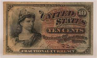 U.S.  .10C FRACTIONAL PAPER CURRENCY NOTE, ACT OF 1863