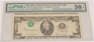 $20.DOLLAR FEDERAL NOTE ERROR, UP-SIDE-DOWN  INVERTED