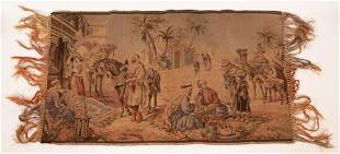 WOVEN TAPESTRY EGYPTIAN SCENE, RUG MERCHANT, ETC 1920 H