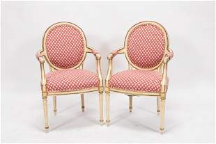 LOUIS XVI PAINTED WOOD, UPHOLSTERED CHAIRS, PAIR, H 37""
