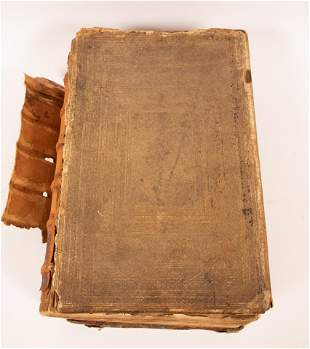 ILLUSTRATED GERMAN LEATHER BOUND LUTHERAN BIBLE, 1643,