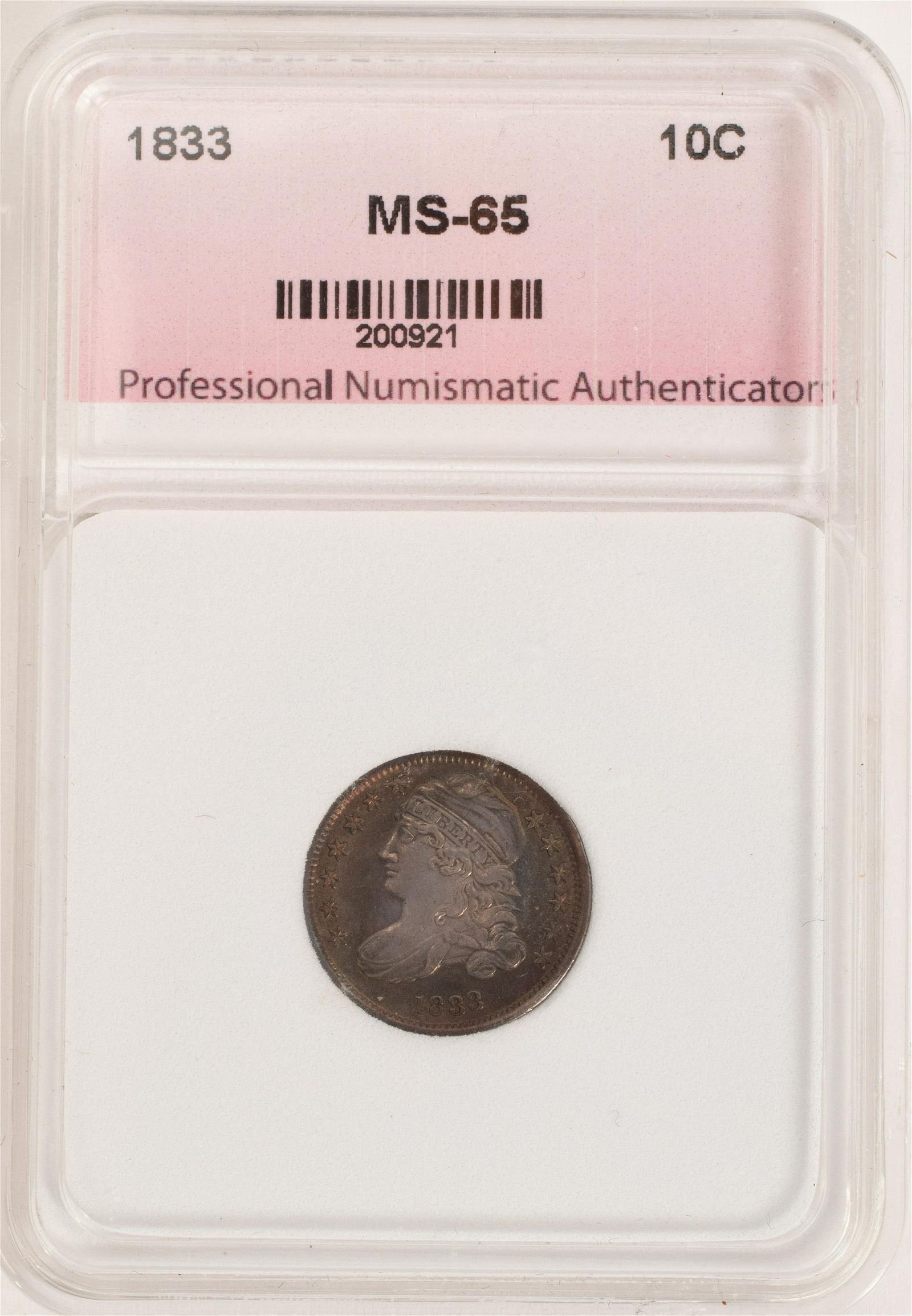 1833 CAPPED BUST 10C CERTIFIED & GRADED MS-65 LIBERTY