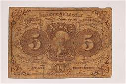 """U.S. .05C FRACTIONAL PAPER CURRENCY NOTE H2""""X2.5"""""""