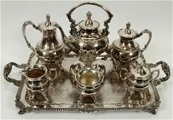 BAROQUE INFLUENCE SILVER PLATE TEA & COFFEE SERVICE,