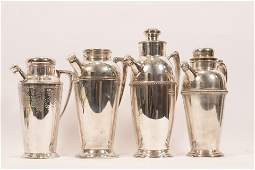 """SILVER PLATE COCKTAIL SHAKERS LOT OF 4 H 10"""" - 13"""""""