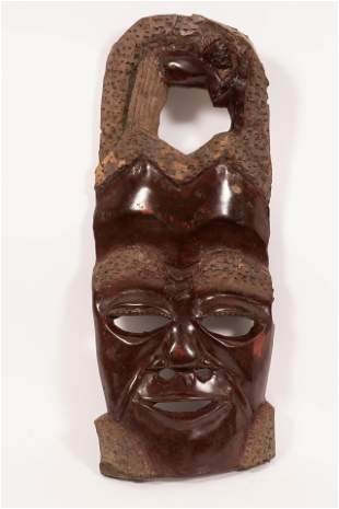 "AFRICAN, CARVED WOOD MODERN MASK H 24"" W 9.5"""