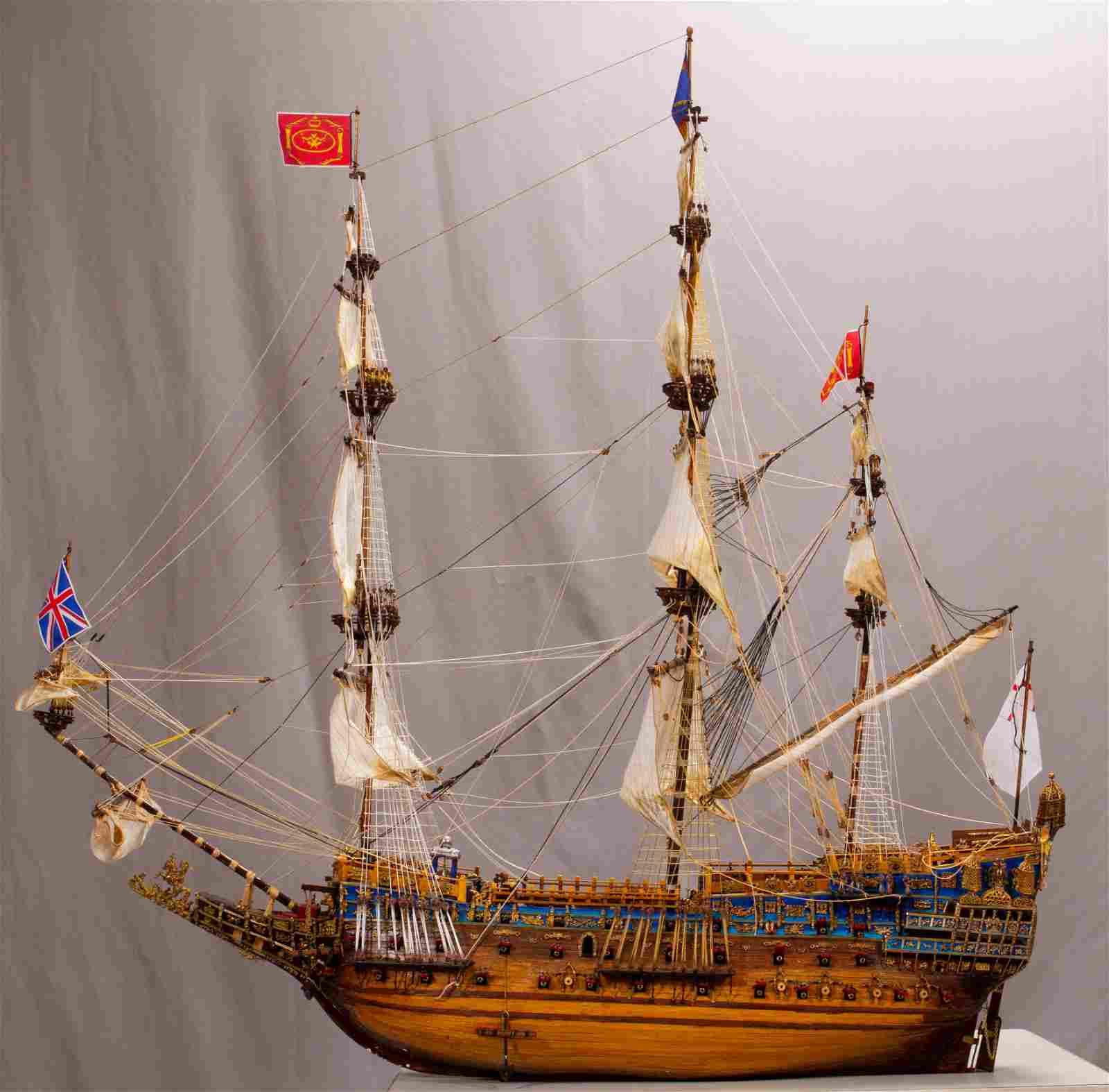 "4-MASTED SHIP MODEL, H 40"", W 12.5"", L 48"""