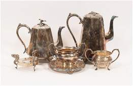 """SILVER PLATE VESSELS & STANDS, 6 PCS, H 1""""-9"""""""