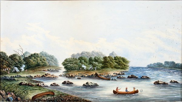 010005: W. MYLNE, WATERCOLOR, INDIAN ENCAMPMENT, 1871