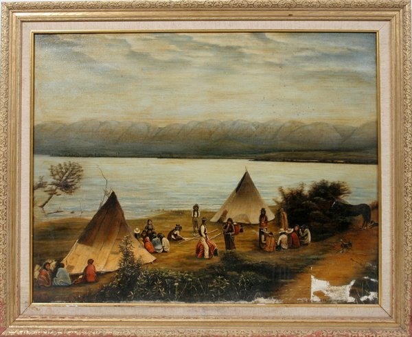010008: L KERR, OIL ON CANVAS INDIAN ENCAMPMENT, 1906
