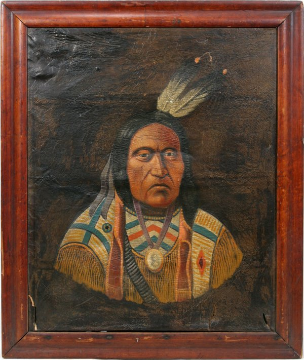 010010: SIGNED PORTRAIT, OIL ON LEATHER, INDIAN CHIEF,