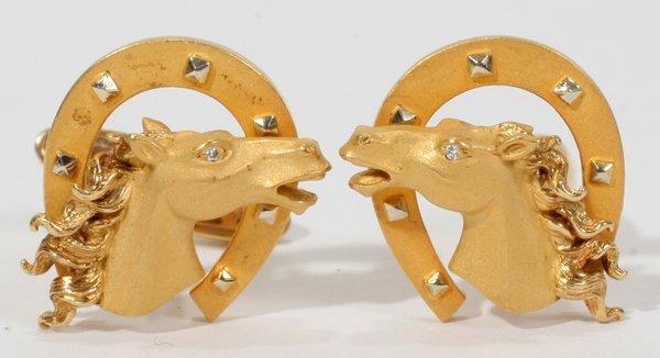 010013: 18KT GOLD & DIAMOND, HORSE MOTIF CUFFLINKS,