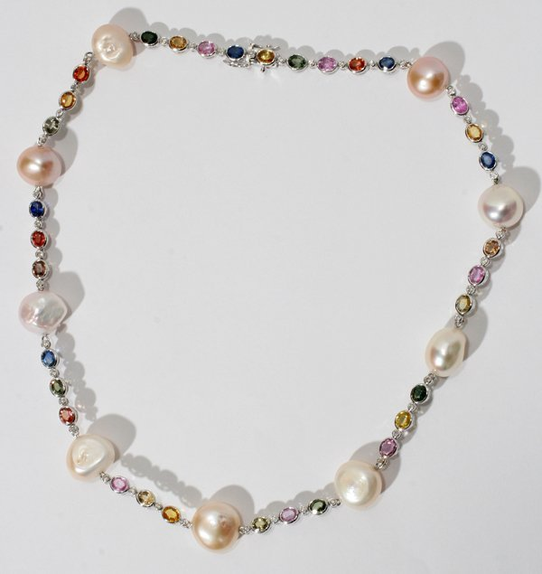 010014: 18KT W/GOLD, SAPPHIRE, DIAMOND & PEARL NECKLACE