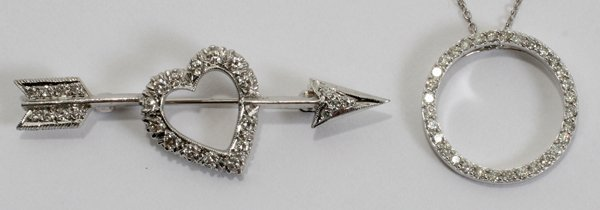 010017: DIAMOND HEART/ARROW PIN & DIAMOND PENDANT