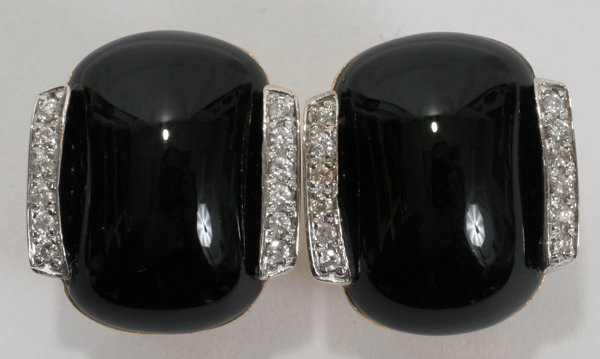 "010018: .50 CT. DIAMOND & ONYX EARRINGS, PAIR, L 3/4"""