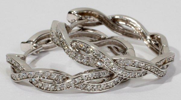 010019: 14KT WHITE GOLD & DIAMOND HOOP EARRINGS, PAIR