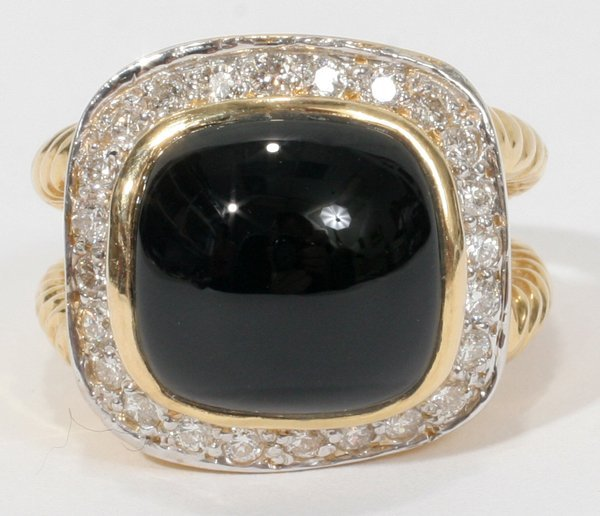 010021: GERMAN CARVED BLACK ONYX & PAVE DIAMOND RING