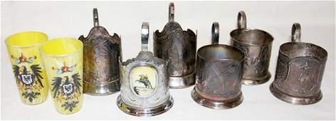 011280 RUSSIAN SILVER TEA GLASS HOLDERS 6  BEAKERS