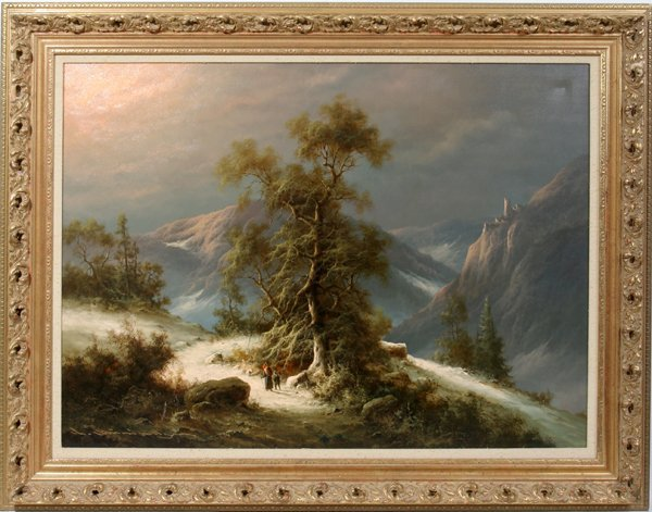 012009: LUDWIG MUNNINGER OIL ON CANVAS MOUNTAIN SCAPE