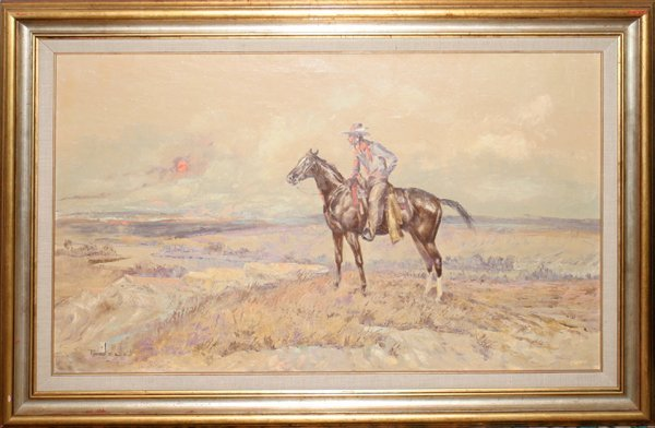 012011: ACE POWELL OIL/CANVAS INDIAN ON HORSE AT SUNSET