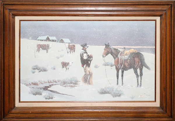 """012013: RON HAYNES OIL ON CANVAS """"EARLY CALF LATE STORM"""