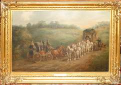 012018: H.F. JONES OIL/CANVAS PASSING THE ROYAL MAIL