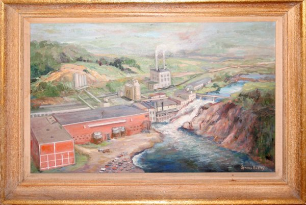 012173: VERENA HUBLEY, OIL ON CANVAS, RIVER DAM