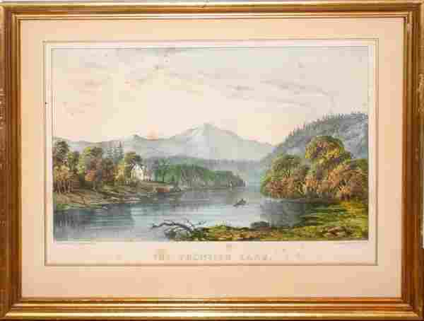 "012474: CURRIER & IVES, HAND COLORED LITHOGRAPH, 8"" X"
