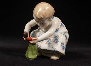 "MEISSEN, PORCELAIN CHILD PLAYING WITH DOLL H 4.7"" L"