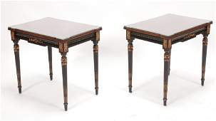 """KARGES EBONY AND WALNUT LAMP TABLES PAIR H 24"""" W 18"""" L"""
