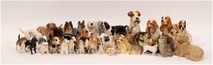 PORCELAIN, CERAMIC, CHALKWARE DOG & CAT FIGURINES,