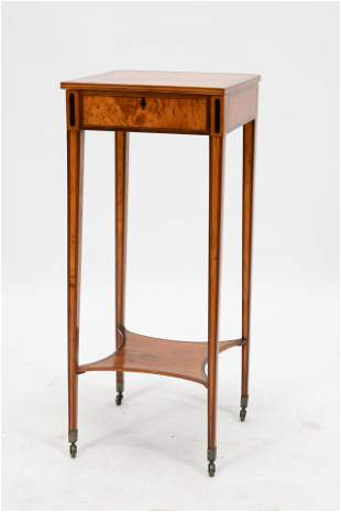 """SHERATON SATINWOOD & ROSEWOOD END TABLE, 19TH C, H 30"""","""