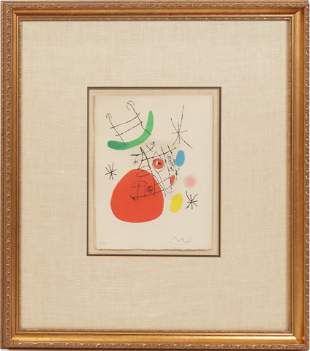 JOAN MIRO (SPAIN, 1893-1983) COLOR LITHOGRAPH ON PAPER,