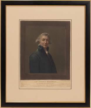 """ANTIQUE TINTED MEZZOTINT ON PAPER, C. 1800, H 15"""", W"""