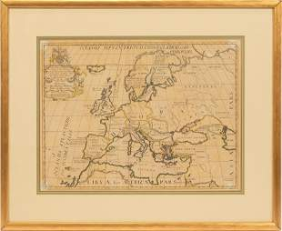 "ANTIQUE ENGRAVING ON PAPER, H 15"", W 20"", NEW MAP OF"