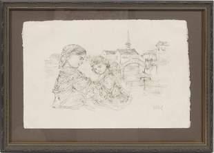 EDNA HIBEL (AMERICAN, 1917-2014) LITHOGRAPH ON PAPER H
