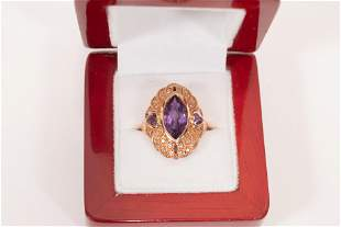 MARQUIS CUT AMETHYST AND DIAMONDS RING, 14K ROSE GOLD