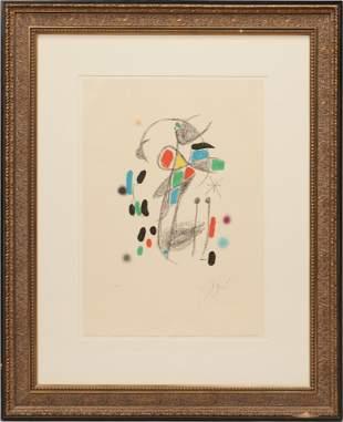 JOAN MIRO (SPAIN, 1893-1983) COLOR LITHOGRAPH ON WOVE