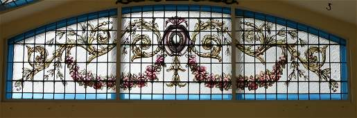 LEADED STAINED AND PAINTED GLASS ARCHED WINDOW PANES