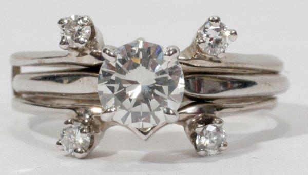 020003: 14KT WHITE GOLD & DIAMOND WEDDING RING & BAND