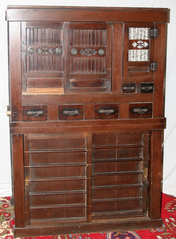020005: CHINESE STAINED WOOD CABINET, ANTIQUE, H 67""