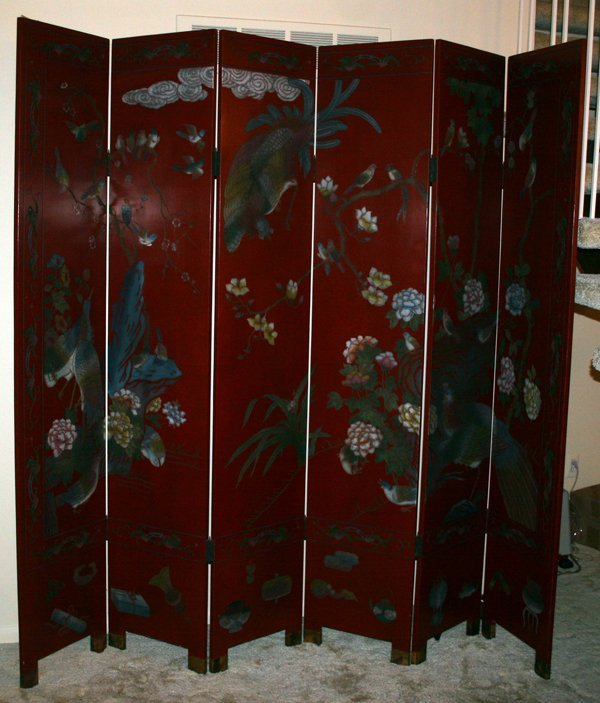 020007: SIX-PANEL CHINESE LACQUER AND CARVED SCREEN