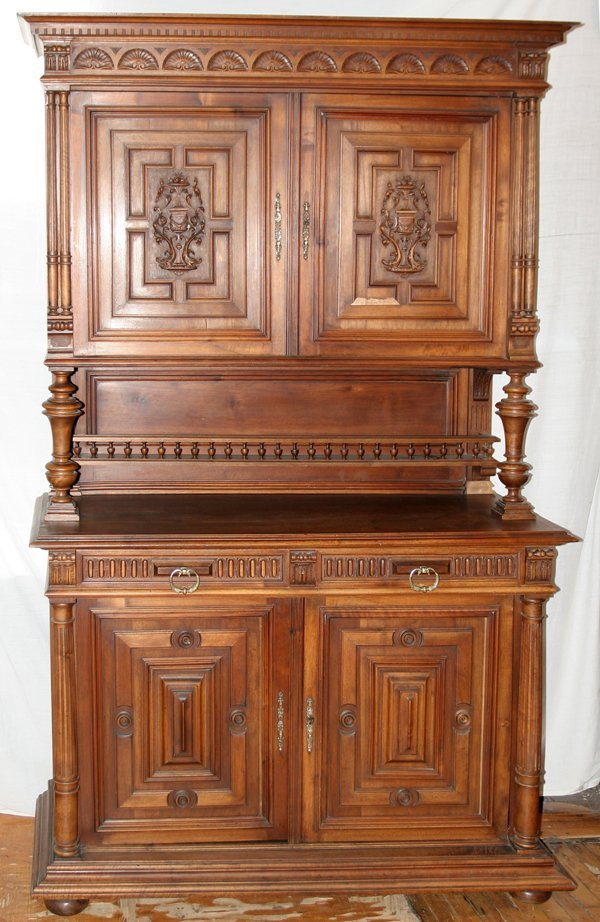 "020008: CARVED WALNUT CABINET EARLY 20TH C, H 90"" W 55"""