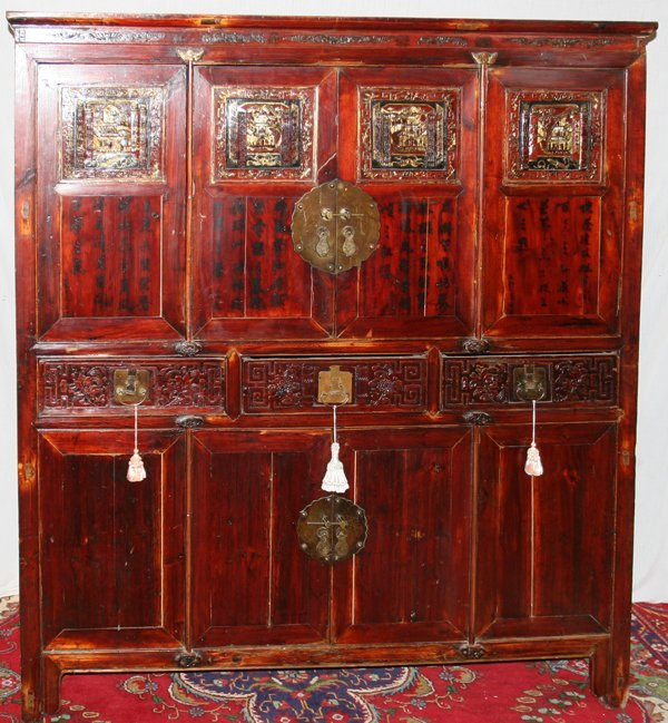 020010: JAPANESE STAINED WOOD CHEST ON CHEST, ANTIQUE