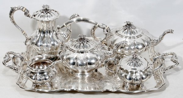 020016: BIRKS STERLING SILVER TEA SET W/KETTLE & TRAY