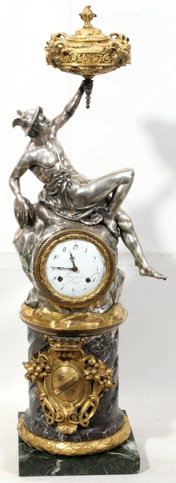 021007: COURVOISIER & COMP SILVER, BRONZE FIGURAL CLOCK